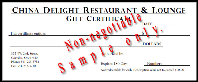 image of sample gift certificate